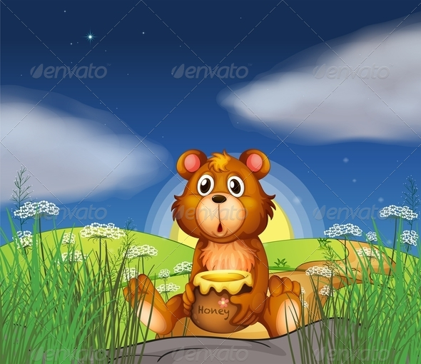 GraphicRiver A Bear at the Hilltop Holding a Pot of Honey 7912916