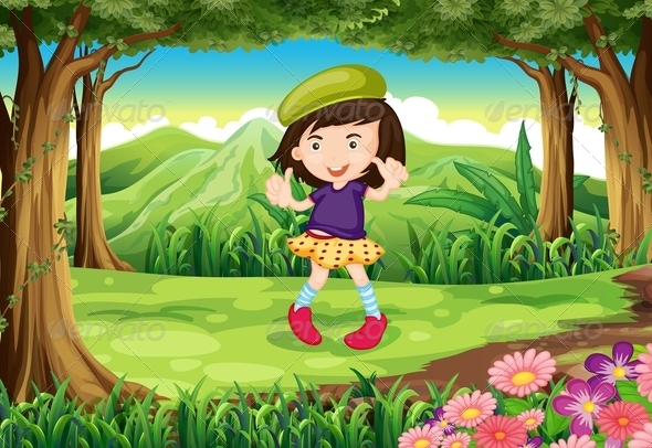GraphicRiver A Fashionable Young Girl in the Forest 7912971