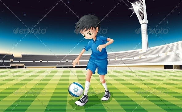 GraphicRiver A Soccer Player Kicking the Ball with Israel Flag 7912995