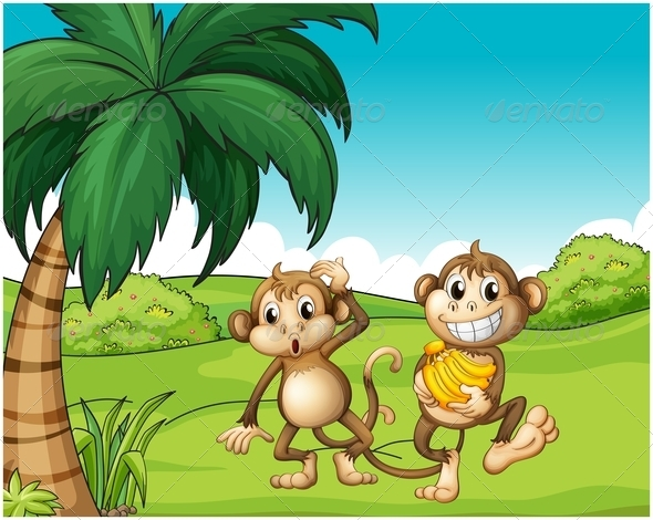 GraphicRiver Happy Monkeys at the Hill with Bananas 7913073