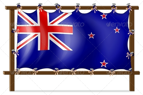 GraphicRiver The Flag of New Zealand Tied to a Wooden Frame 7913093
