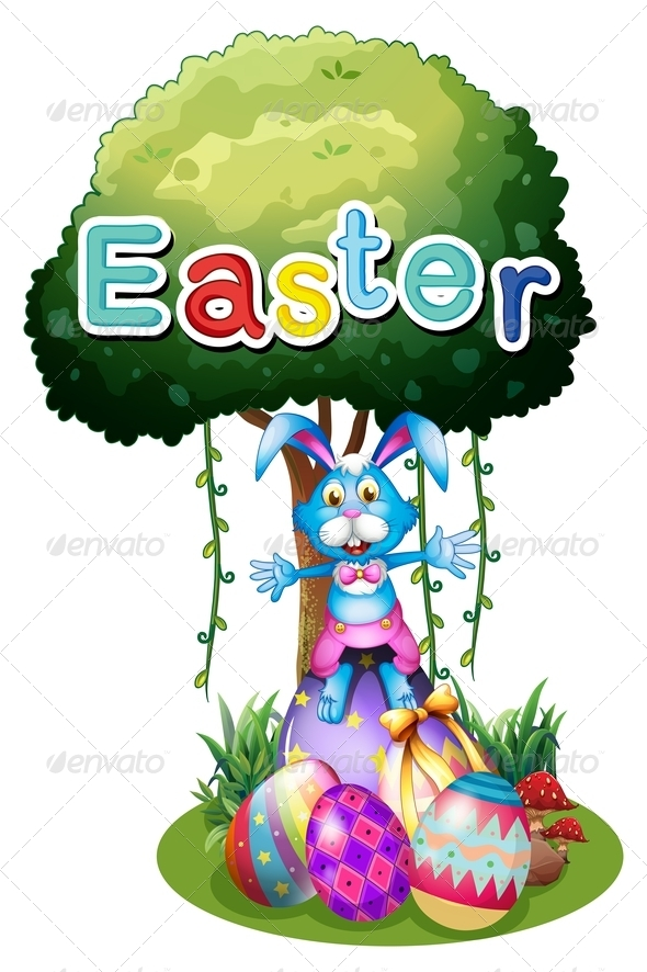 GraphicRiver Easter Eggs and a Bunny Under the Tree 7913112