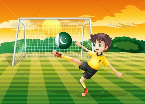 An Athlete Kicking the Ball with the Flag of Pakis