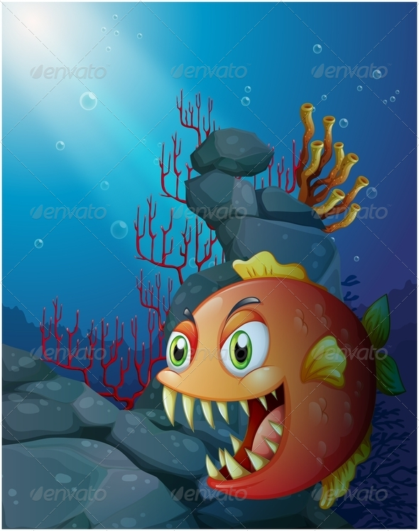 GraphicRiver Scary Piranha Under the Sea Near the Rocks 7913145