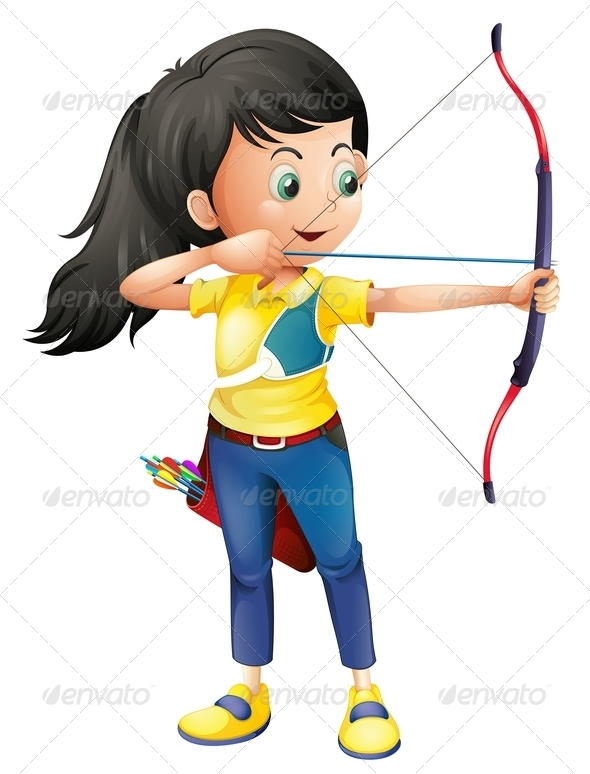 GraphicRiver A Young Girl Playing Archery 7913151