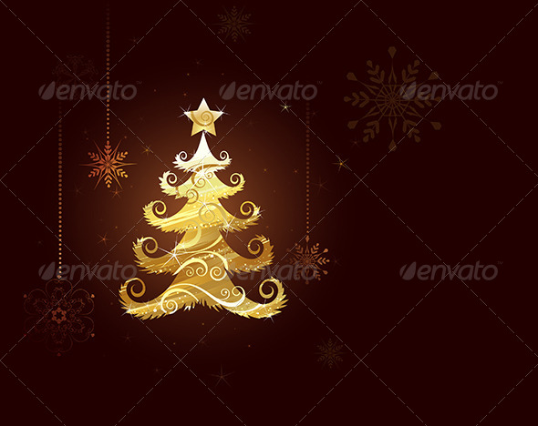 GraphicRiver Christmas Tree of Gold Foil 7913158