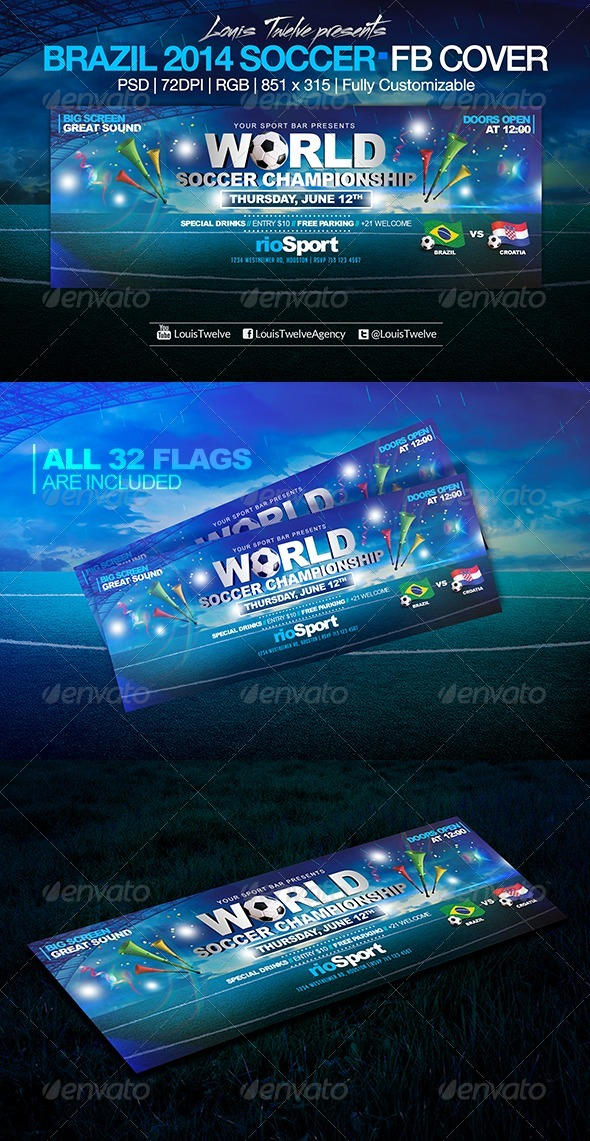 GraphicRiver World Soccer Championship Facebook Cover 7913162
