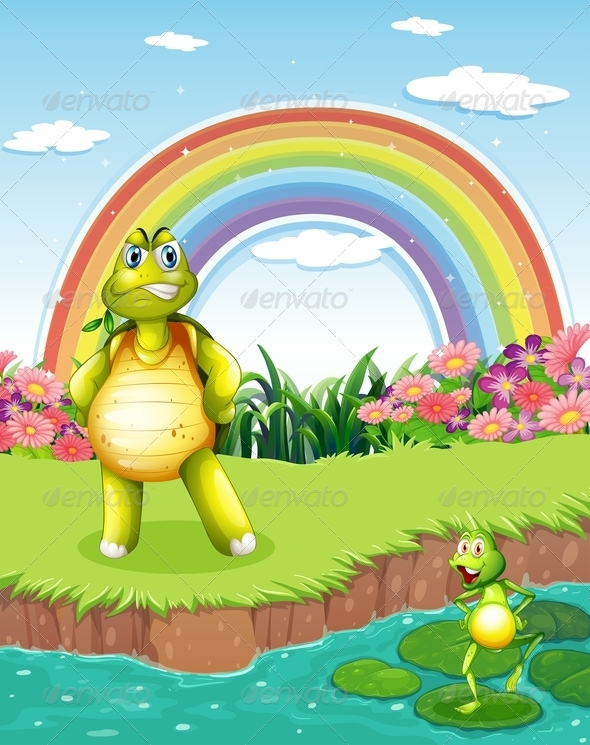 GraphicRiver A Turtle and a Frog at the Pond with a Rainbow 7913253