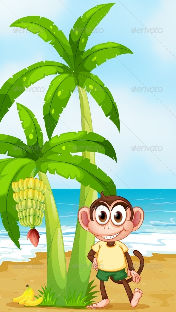 Smiling Monkey at the Beach Near a Banana Plant
