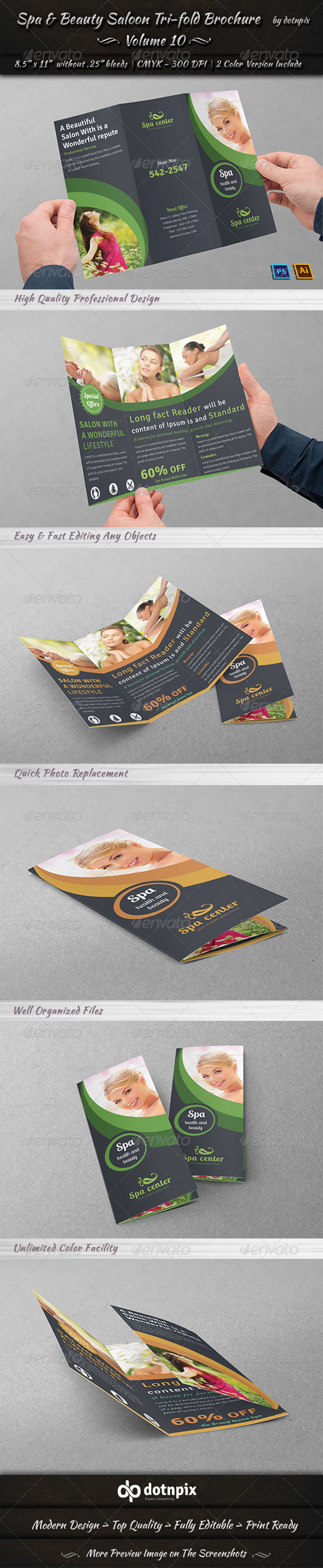 Spa & Beauty Saloon Tri-fold Brochure Volume 10