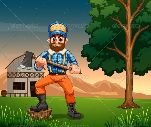 GraphicRiver A Lumberjack Standing Near a Tree with an Axe 7914478