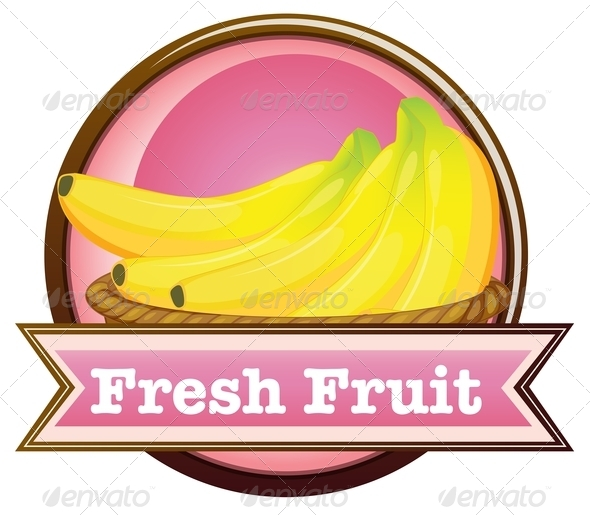 Fresh Fruit Label with Ripe Bananas