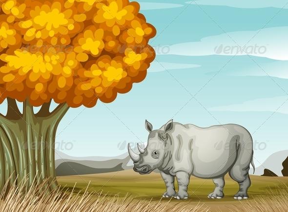GraphicRiver A Rhinoceros Near the Tree 7914670