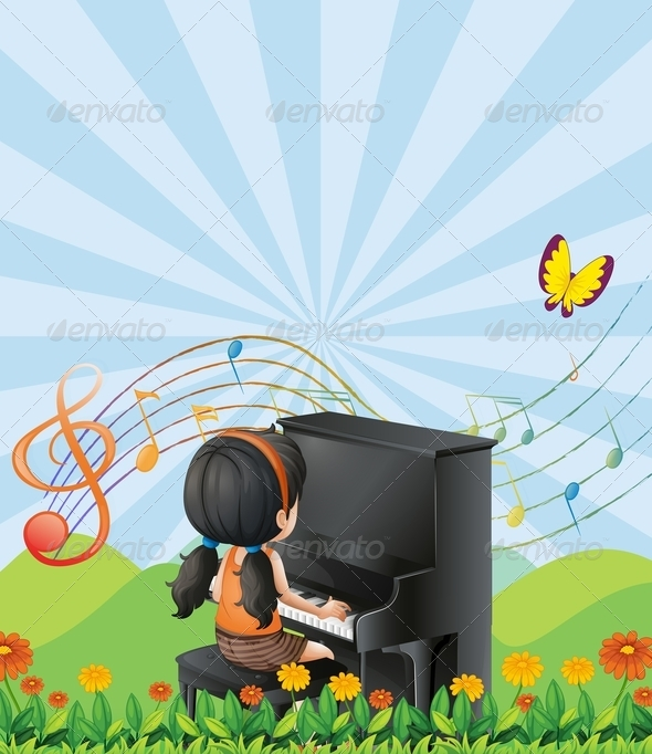 GraphicRiver A Girl Playing with the Piano at the Hills 7914800