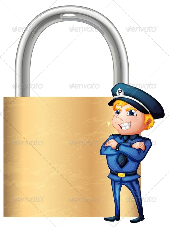 GraphicRiver A Smiling Cop Beside the Giant Padlock 7914804