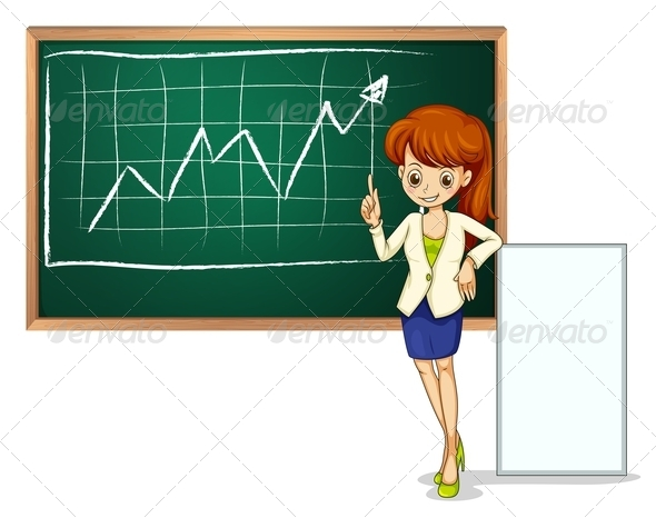 GraphicRiver A Woman in Front of the Blackboard 7914824