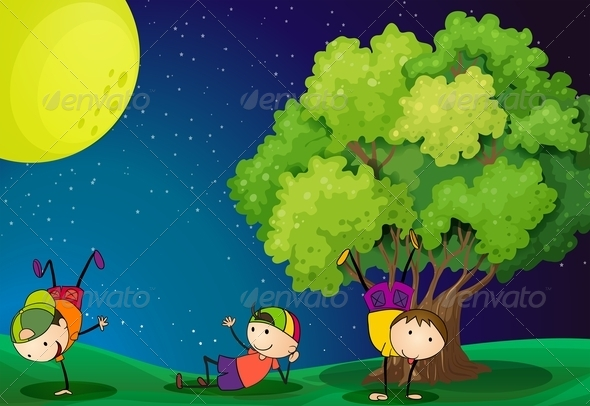 GraphicRiver Three Kids Playing Near the Tree under the Full Moon 7914923