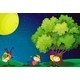 Three Kids Playing Near the Tree under the Full Moon - GraphicRiver Item for Sale