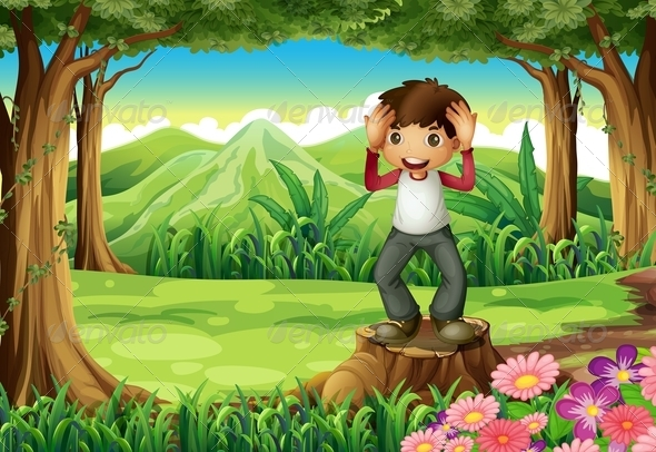 Forest Landscape with Smiling Boy