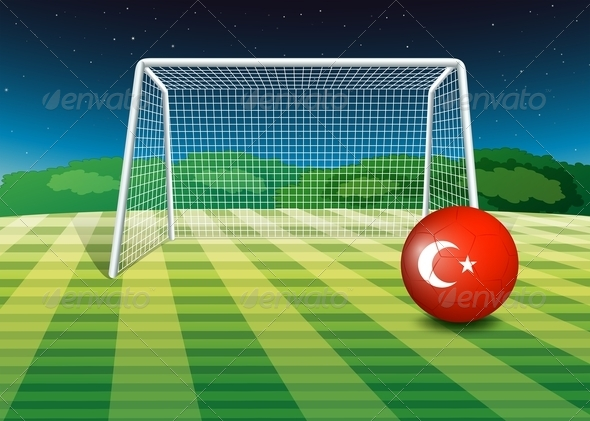 A Ball at the Soccer Field with the Flag of Turkey