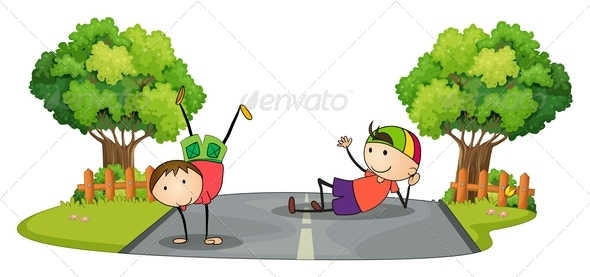 GraphicRiver Two Kids Playing in the Middle of the Road 7915048