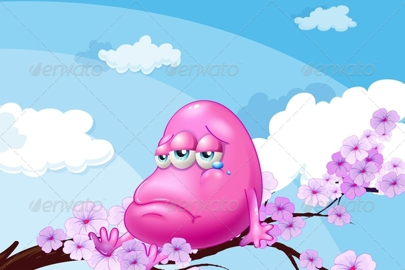 GraphicRiver Pink Monster at the Branch of a Tree 7915143