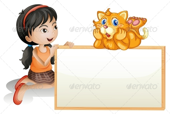 GraphicRiver Young Girl Holding an Empty Signboard with a Cat 7915153