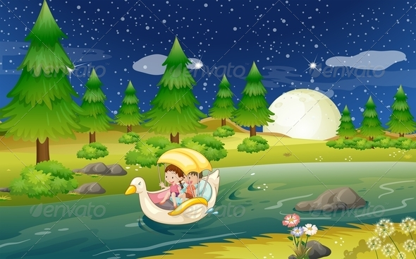 GraphicRiver River with a Floating Boat and Kids 7915181