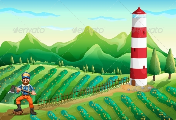 GraphicRiver Farm with a Tower and a Lumberjack 7915184