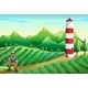 Farm with a Tower and a Lumberjack - GraphicRiver Item for Sale