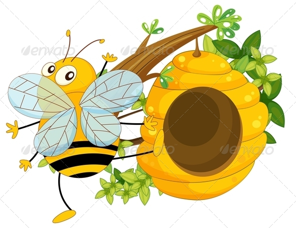 GraphicRiver Big Fat Bee Near the Beehive 7915194