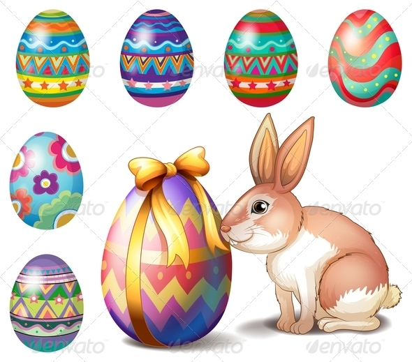 GraphicRiver Colorful Easter Eggs and a Bunny 7915201