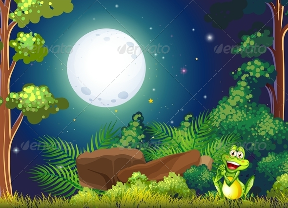 GraphicRiver Forest with a Smiling Frog Near the Rock 7915206