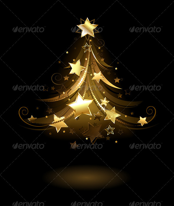 GraphicRiver Golden Fir with Stars 7915207