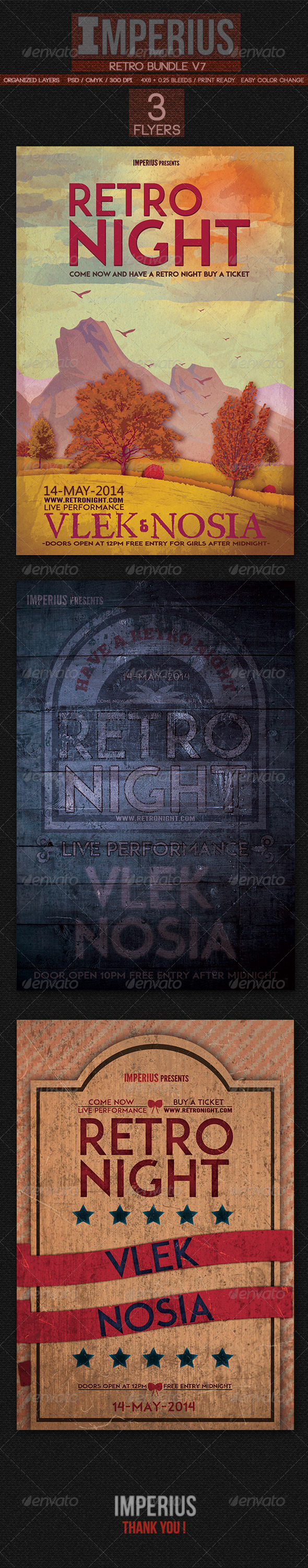 Retro Bundle V7 - Flyers Print Templates