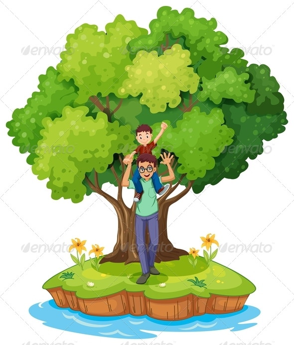 GraphicRiver Young Boy Carried by His Father Near a Big Tree 7915269