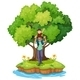 Young Boy Carried by His Father Near a Big Tree - GraphicRiver Item for Sale