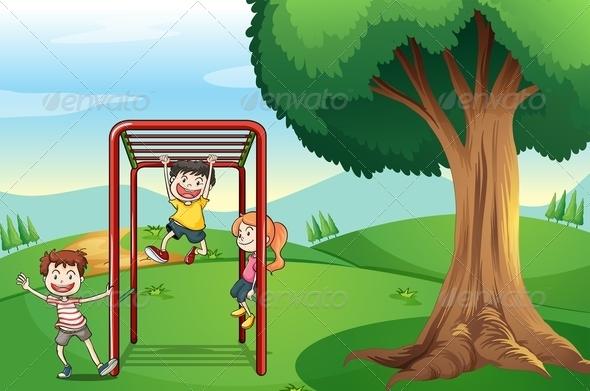 Kids Playing Near the Tree
