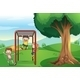 Kids Playing Near the Tree - GraphicRiver Item for Sale
