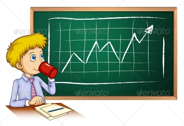 GraphicRiver Man Drinking Coffee in Front of the Blackboard 7915281
