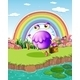 Monster Walking Near a Pond with a Rainbow - GraphicRiver Item for Sale
