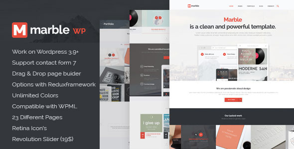 Description Marble – is clean Multipurpose WP Theme and retina ready. It is great, professional and easy to use. You can use it for, business, Photo Studi