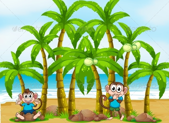 GraphicRiver Beach with Tall Coconut Trees and Playful Monkey 7915376