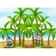 Beach with Tall Coconut Trees and Playful Monkey - GraphicRiver Item for Sale