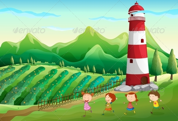 GraphicRiver Children Playing Near the Tower at the Farm 7915381