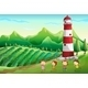 Children Playing Near the Tower at the Farm - GraphicRiver Item for Sale