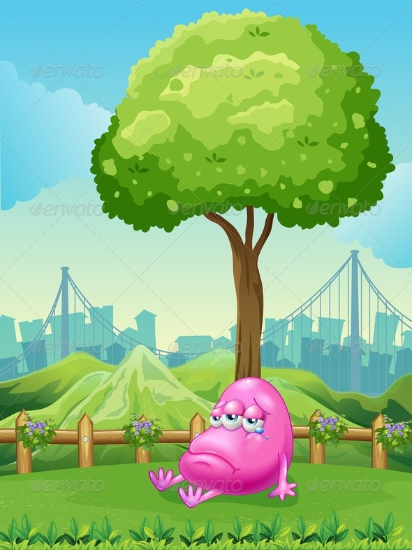 GraphicRiver Monster Crying Under a Tree 7915390
