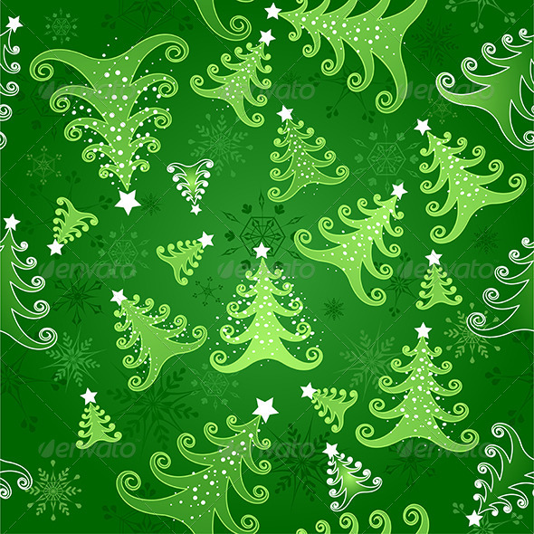GraphicRiver Seamless Background with Christmas Trees 7915398
