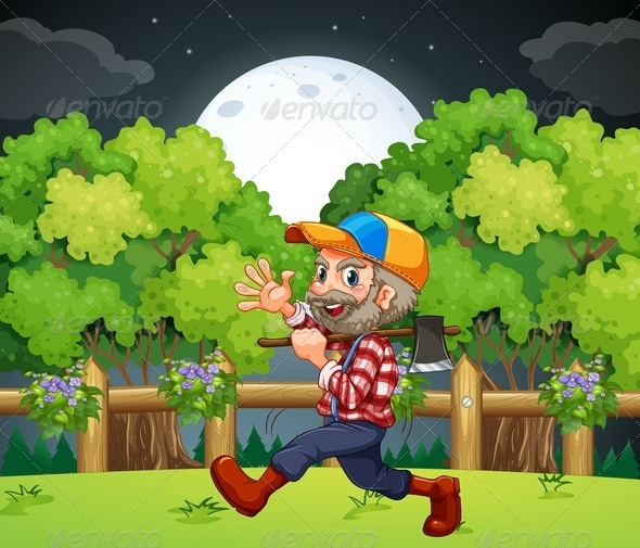 GraphicRiver An Old Lumberjack Carrying an Axe While Walking 7915401