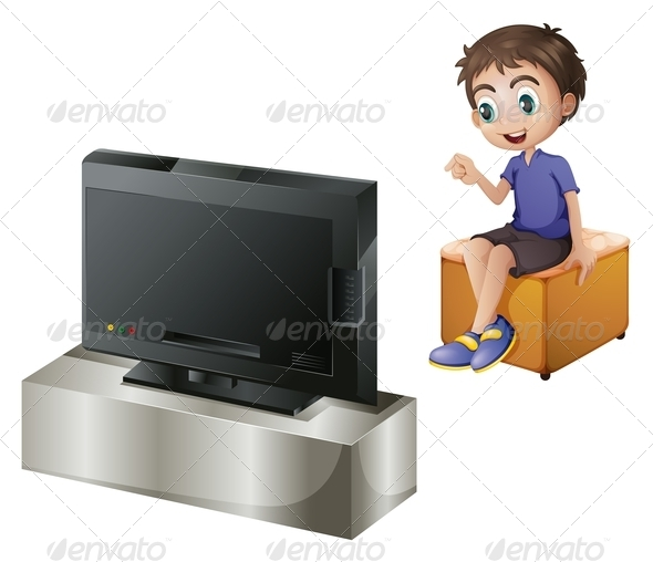 GraphicRiver Young Man Watching TV 7915402